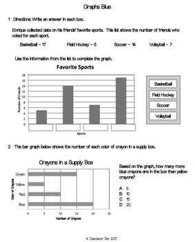 Graphing Assessments: Bar Graphs, Pictographs and Line Plots