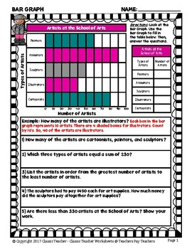 Graphing - Bar Graphs (Horizontal) - Grade Five (5th Grade) - Worksheets/Test