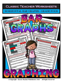 Graphing - Bar Graphs (Horizontal) - Grade Four (4th Grade) - Worksheets/Test