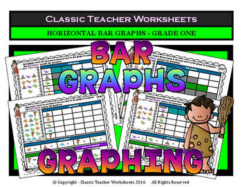 Graphing - Bar Graphs (Horizontal) - Grade One (1st Grade) - Worksheets/Test