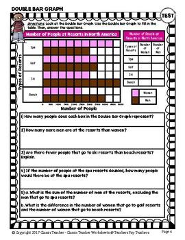 Graphing - Bar Graphs (Horizontal) - Grade Six (6th Grade) - Worksheets/Test