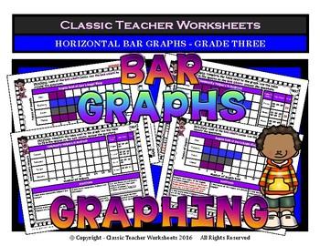 Graphing - Bar Graphs (Horizontal) - Grade Three (3rd Grade) - Worksheets/Test