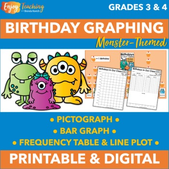 Graphing Birthdays - Monster Theme (Great Back to School Icebreaker!)
