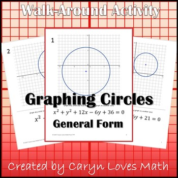 Graphing CIRCLES in General Form ~Conic Sections ~ Walk Around Activity