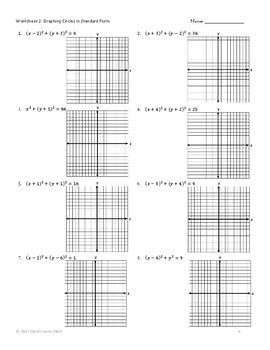 Graphing CIRCLES in General and Standard Form- Worksheet-Homework
