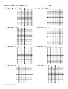 CIRCLES in General and Standard Form- Worksheet-Homework
