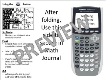 Graphing Calculator Cheat Sheet