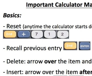 Graphing Calculator Cheat Sheet and Practice