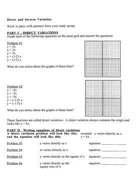 Algebra:  Graphing Calculator: Direct & Inverse Variation