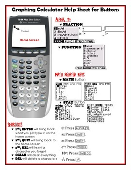 Graphing Calculator Help Sheet