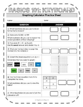 Graphing Calculator Reference Sheet: Basics 101 - Keyboard