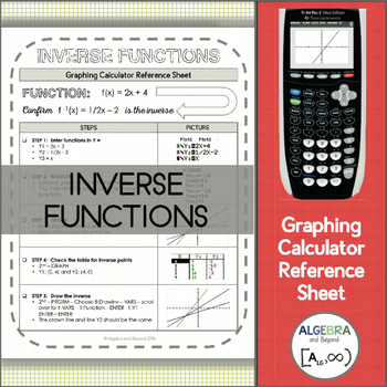 Graphing Calculator Reference Sheet: Inverse Functions