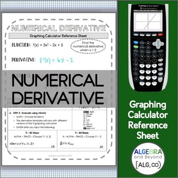 Graphing Calculator Reference Sheet: Numerical Derivative