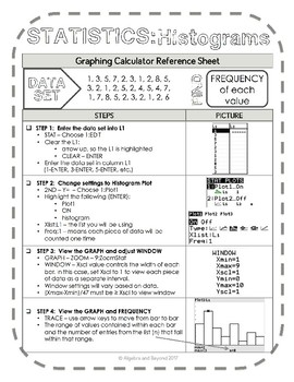 Graphing Calculator Reference Sheet: Statistics - Histograms