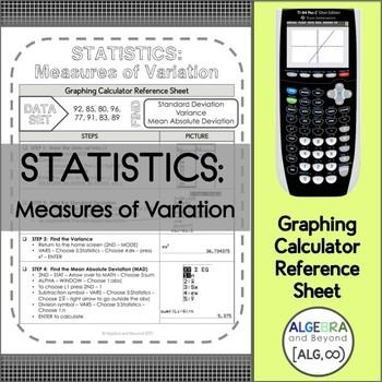 Graphing Calculator Reference Sheet: Statistics - Measures of Variation