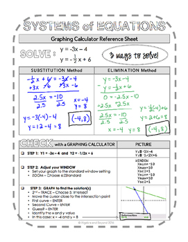 Graphing Calculator Reference Sheet: Systems of Equations by Algebra and  Beyond