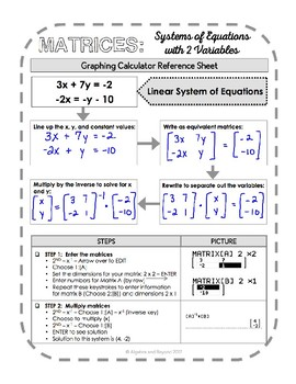 graphing calculator reference sheet systems of equations with matrices