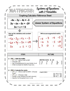 Graphing Calculator Reference Sheet: Systems of Equations with Matrices