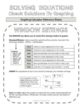 Graphing Calculator Reference Sheet: Window Settings and Graphing Equations