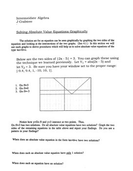 Pre-Calc: Graphing Calculator: Solving Absolute Value Equations