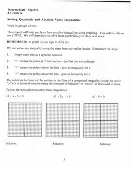 Algebra: Graphing Calculator: Solving Quadratic & Absolute Value Inequalities