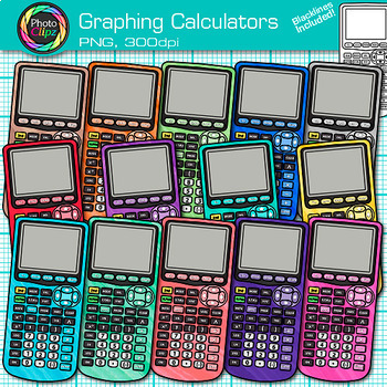 Rainbow Graphing Calculator Clip Art {Measurement Tools for Math Resources}