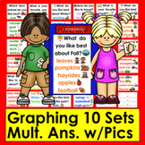 Graphing for Pocket Chart Set 2- Ten Graphing Questions & Ans. w/Graphics