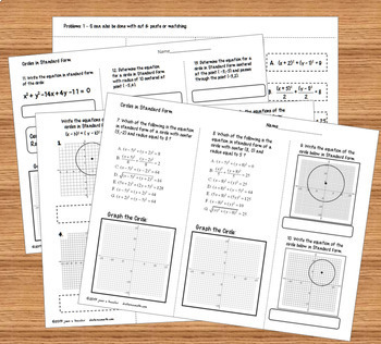 Graphing Circles in Standard Form Interactive Notebook Pages