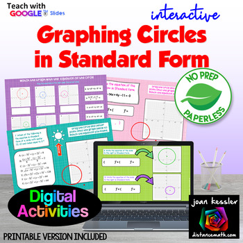 Graphing Circles Standard Form with GOOGLE Slides