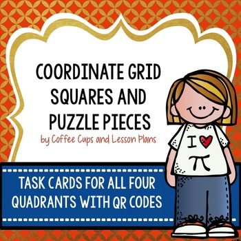 Coordinate Grid Graphing Squares and Puzzle Task Cards