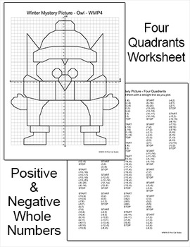 Winter Math Coordinate Graphing Ordered Pairs Mystery Picture - Winter Owl