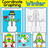Coordinate Graphing Winter Math Worksheets - Penguin, Snowman, Polar Bear, Owl