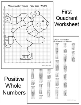 Winter Math Coordinate Graphing Ordered Pairs Mystery Picture - Polar Bear