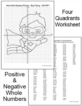 Coordinate Graphing Ordered Pairs Superhero Mystery Picture