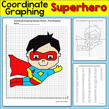 Coordinate Graphing Picture - Ordered Pairs Superhero Mystery Picture