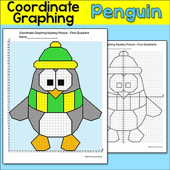 Penguin Coordinate Graphing Ordered Pairs Mystery Picture Winter