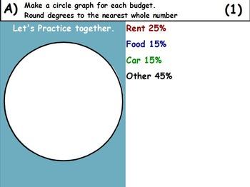 Using Percent- Creating Pie Graphs Mathematics (worksheet