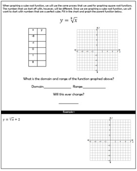 Graphing Cube Root Functions Guided Notes and HW