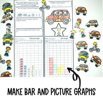 Graphing Data Pack How do you travel to school each day? survey graph interpret