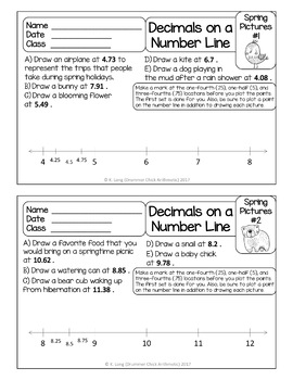 Graphing Decimals on a Number Line - Positive Numbers - Spring Edition