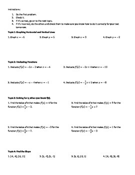 Graphing Differentiated Review Worksheet