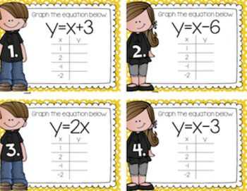 Graphing Equations Task Cards Task Cards for Centers, Review, Scoot, & Test Prep