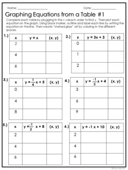 graphing equations stained glass art project freebie - Graphing Equations Worksheet