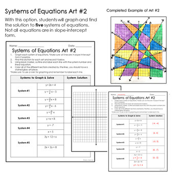 Graphing Equations Stained Glass Art : Systems of Equations