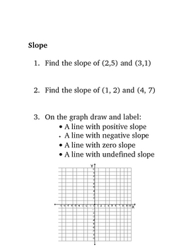 Graphing Equations and Functions Unit Daily Warm Up Questions