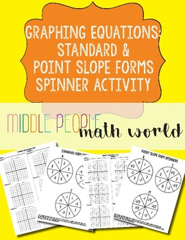 Graphing Equations in Standard and Point Slope Forms Spinner Activities