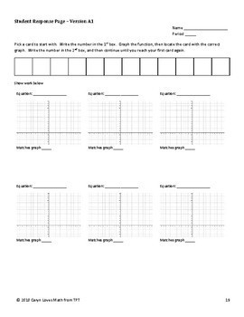 Graphing Exponential Equations Walk Around Activity Level 1