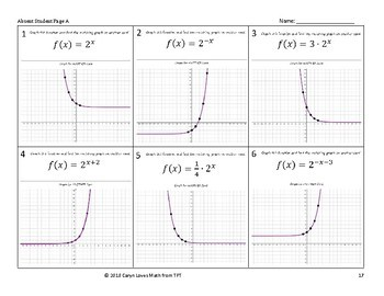 Graphing Exponential Equations Walk Around Activity Level 2