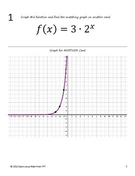 Graphing Exponential Equations Walk Around Activity Level 3