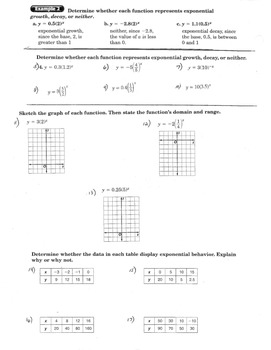 Graphing Exponential Functions, Domain & Range, Growth & Decay